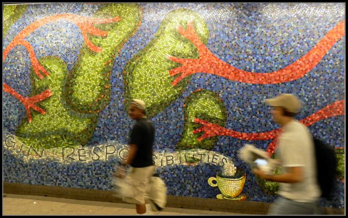 Section of Mural by Elizabeth Murray in the Subway Station at 59th St. and Lexington Ave.