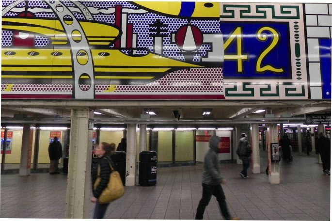 Inside 42nd Street Subway Station with Leichenstein's  Mural.