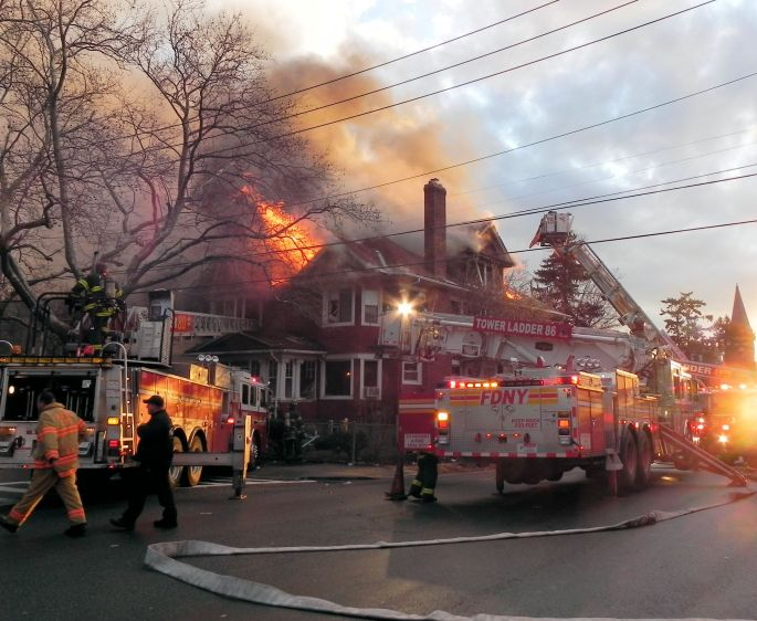 Fire in Port Richmond, Staten Island, Jan. 16, 2012
