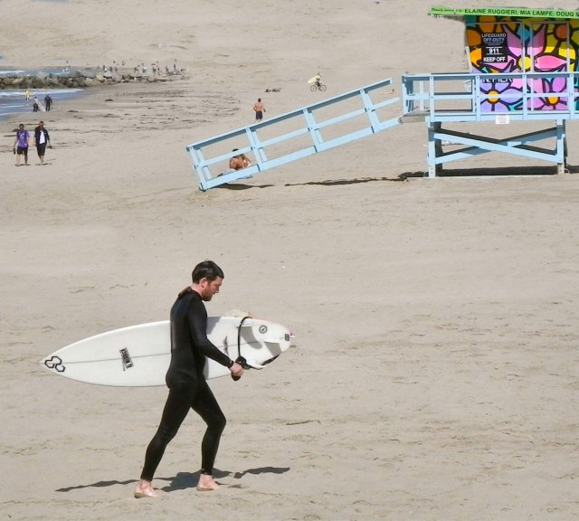 On the beach in Playa del Rey, California. Notice how the lifeguard house is painted.
