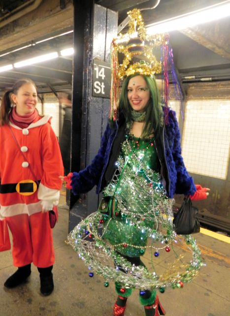 In the Subway at 14th Street. SantaCon 2011.