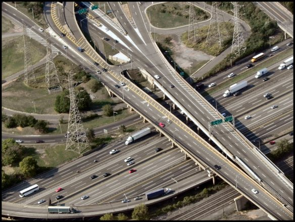 Photo of a few of the freeways in L.A. taken from a plane, 2010.
