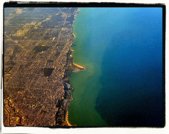 Illinois (left) Lake Michigan (right)