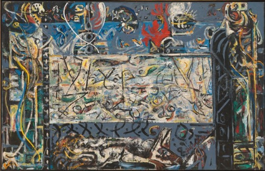 """Today is the birthday of Jackson Pollock, icon of the abstract expressionist movement, who once said that when he painting from the unconscious, """"figures are bound to emerge.""""  What figures do you see hiding in Pollock's """"Guardians of the Secret""""? Can you decode it?"""