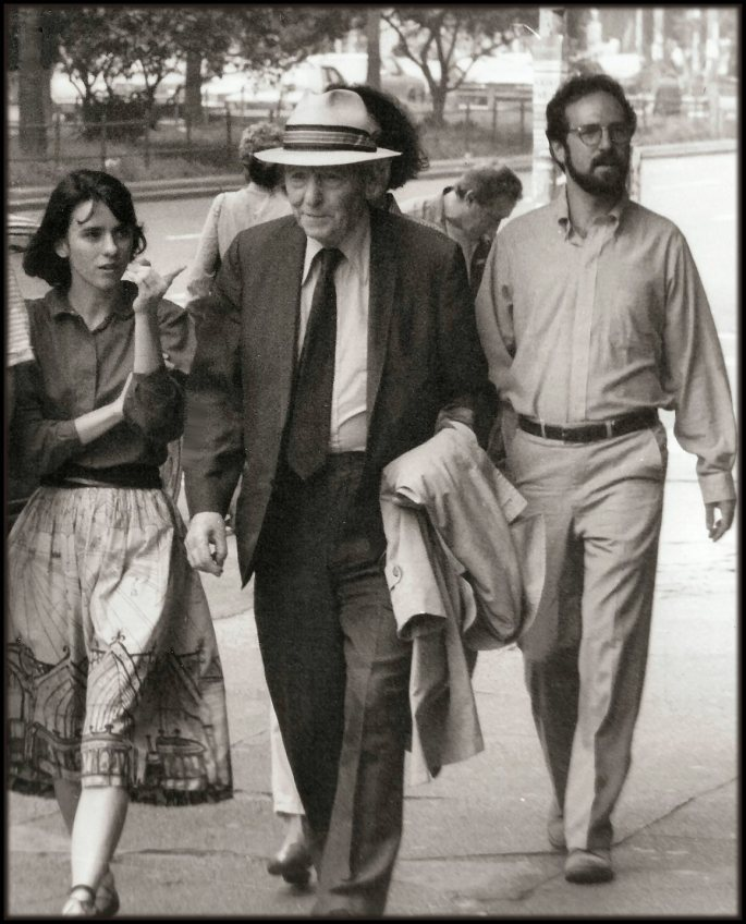 Nobel Prize winning author, Isaac Breshniv Singer, walking down Broadway in NYC. 1984.