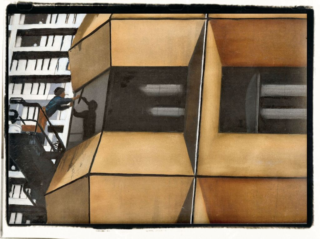 Person washing windows on high rise building. San Franciscp/ Photo is hand tinted.
