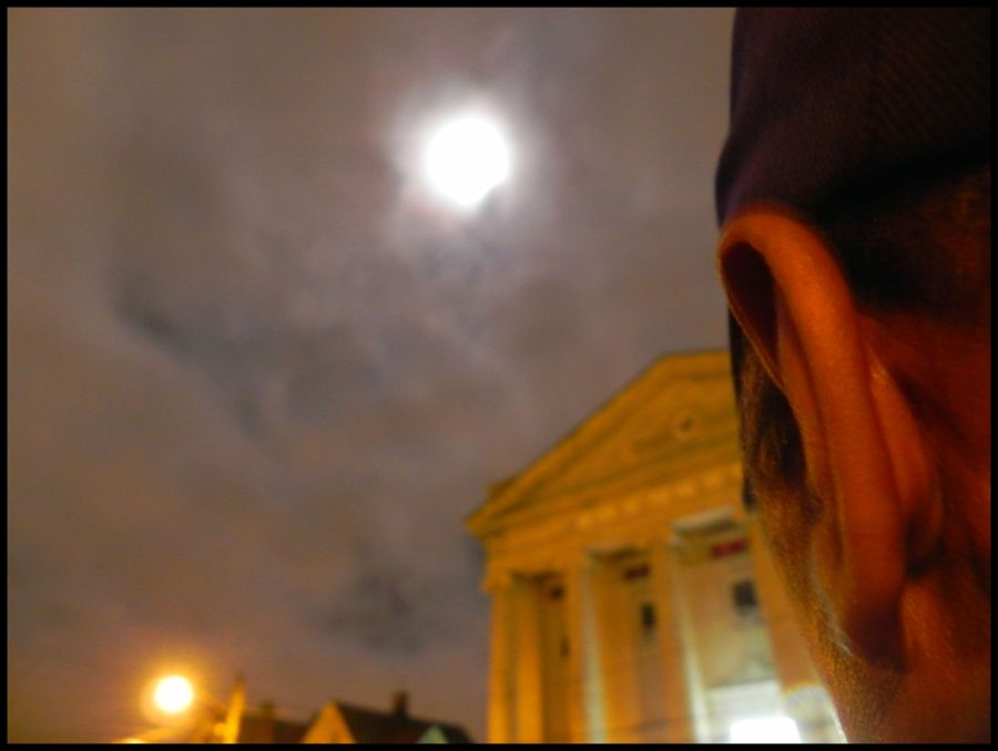1:00 a.m in October during the Moon Eclipse which was about over. I went outside to take a photo and Joe was outside, too. I asked him if I could balance my camera on his shoulder to take a photo. This was the photo.