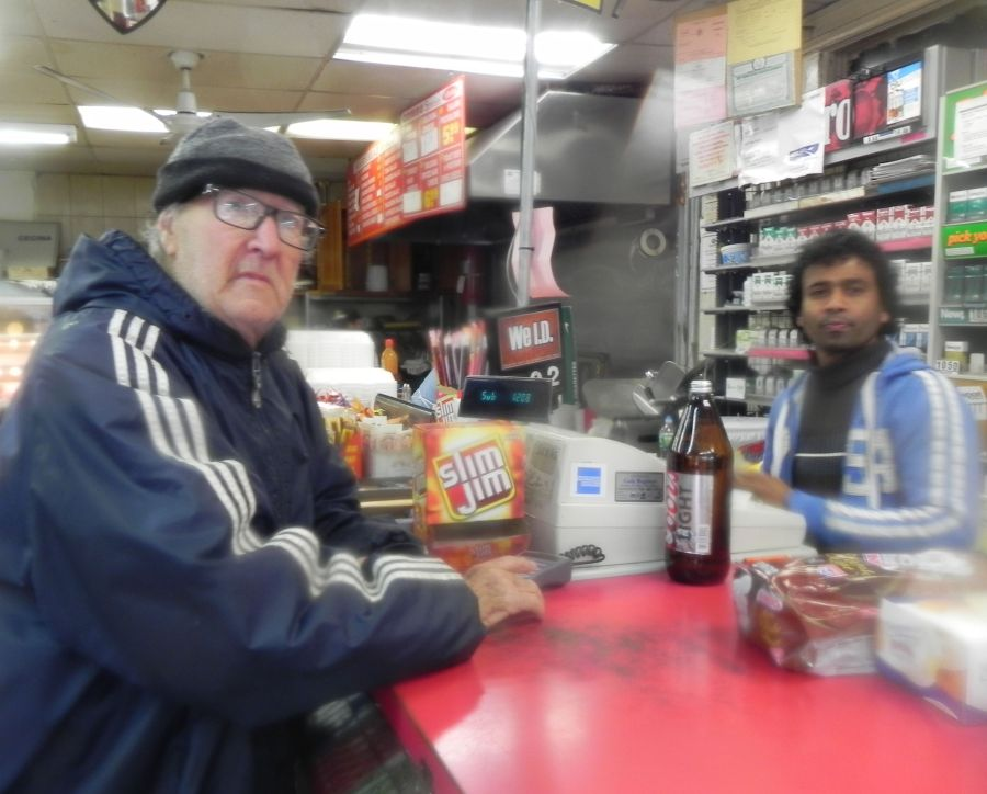 Frank, who lives in the same senior home as myself, buying provisions from Kuma at our local 5-eleven at Castleton and Port Richmond Road.